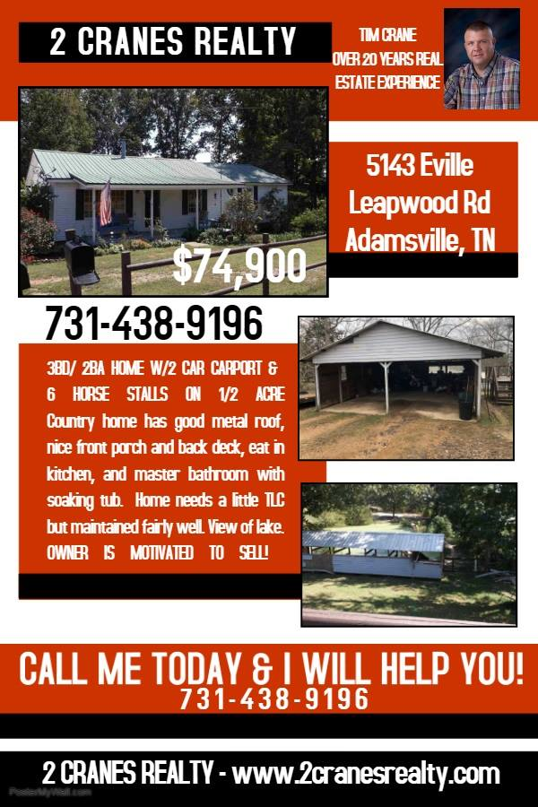 Local Properties Near Savannah TN – 2 CRANES REALTY